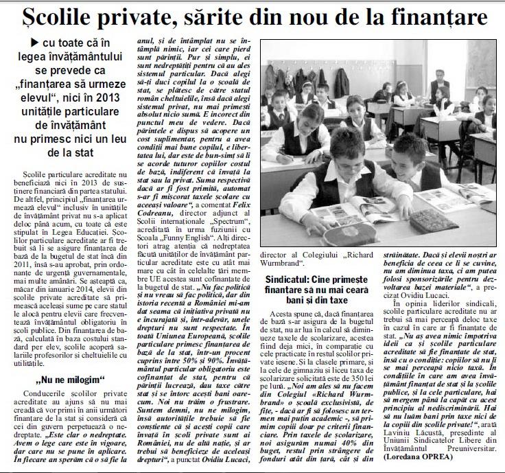 Școlile private, sărite din nou de la finanțare