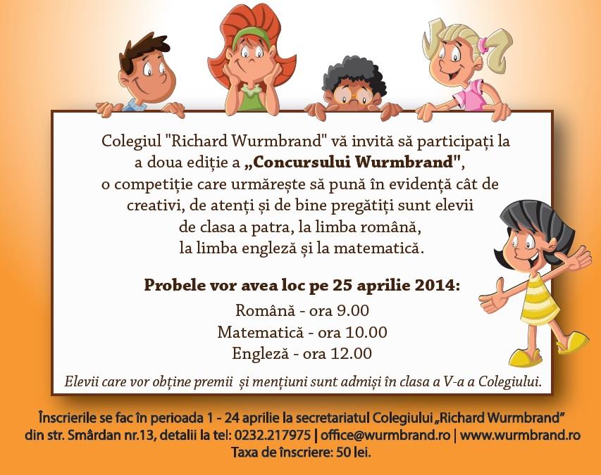 """Programul concursului """"WURMBRAND"""", 25 aprilie 2014"""